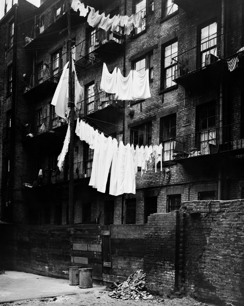 1930s Tenement Building With Laundry Hanging On Clotheslines I Poster Print By Vintage Collection (22 X 28) - Item # PPI177107LARGE