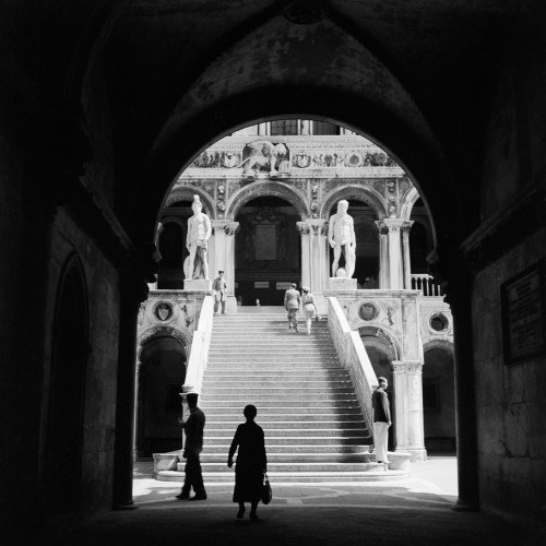 1930s-1940s Venice Italy Doge'S Palace View Through Archway To Staircase With Statues Of Neptune And Mars Print By - Item # PPI178985LARGE
