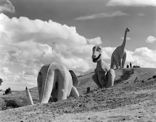 1950s Three Life-Size Dinosaur Statues On Hillside Dinosaur Park Established 1936 Rapid City South Dakota Usa Print By - Item # PPI179025LARGE