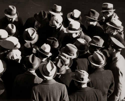 1930s-1940s Elevated View Of Group Crowd Of Men All Wearing Hats Poster Print By Vintage Collection - Item # VARPPI172414