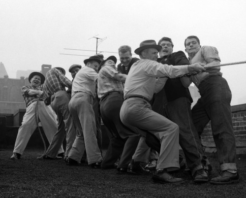 1950s Men Playing Tug-Of-War Poster Print By Vintage Collection (22 X 28) - Item # PPI180605LARGE