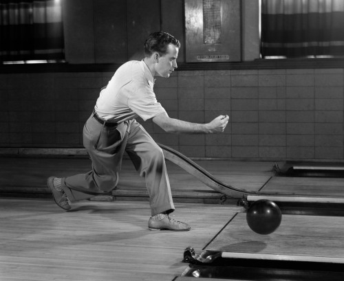1950s Side View Man Bowling Releasing Ball Poster Print By Vintage Collection (32 X 36) - Item # PPI172460LARGE
