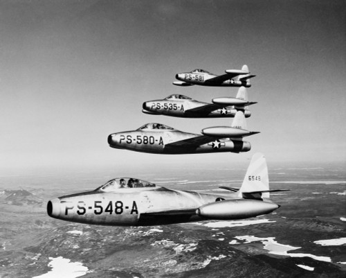 1950s Four Us Air Force F-84 Thunderjet Fighter Bomber Airplans In Flight Formation Print By Vintage Collection - Item # VARPPI176435