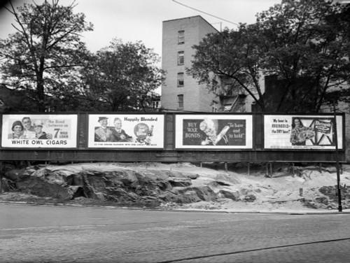 1940s-1945 Wartime Billboards For Cigars Beer Coca Cola All Promoting War Bonds Burnside Avenue In The Bronx New York - Item # PPI195805LARGE
