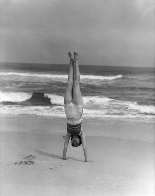 1930s Woman Doing Handstand On Beach Upside Down Exercise Poster Print By Vintage Collection - Item # VARPPI176996