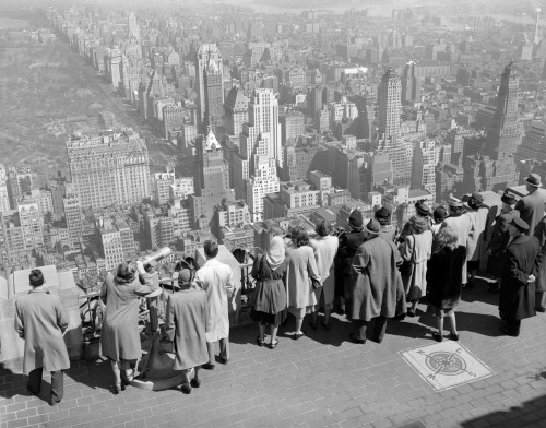 1940s Group Of Tourists Standing On Top Of Rca Building Looking North Towards Manhattan Central Park Nyc Ny Usa Print By - Item # VARPPI172446