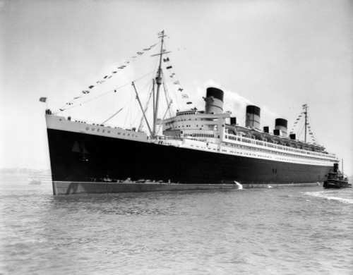 1930s-1936 Maiden Voyage Of Queen Mary Dwarfing Small Tugboat Moving Alongside It Print By Vintage Collection - Item # PPI180220LARGE