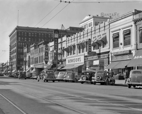 1940s Kansas Street Shopping District Cars Shops Storefronts Topeka Kansas Usa Print By Vintage Collection - Item # PPI177639LARGE