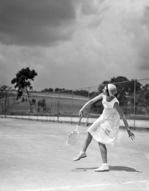 1930s Woman Playing Tennis Swinging Racket Poster Print By Vintage Collection (22 X 28) - Item # PPI179587LARGE