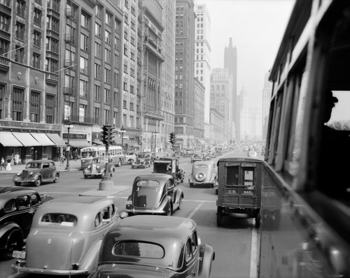 1930s Morning Traffic On Michigan Avenue Chicago Illinois Usa Poster Print By Vintage Collection (22 X 28) - Item # PPI195668LARGE