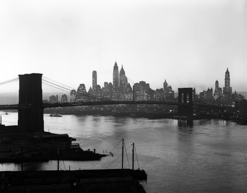 1950s Twilight Skyline Of Lower Manhattan Brooklyn Bridge In Foreground New York Usa Print By Vintage Collection - Item # PPI172448LARGE