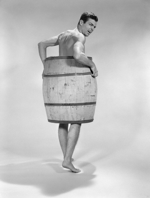 1960s Angry Naked Man Wearing A Barrel Poster Print By Vintage Collection (22 X 28) - Item # PPI179119LARGE