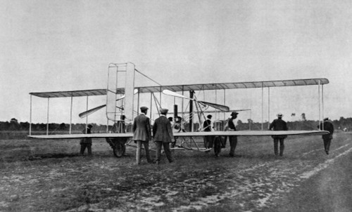 1900s Wilbur Wright Demonstrates Airplane Flying Machine To French War Office August 1908 At Le Mans France Print By - Item # PPI195038LARGE