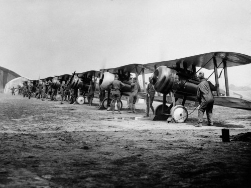 1918 Flight Line Of American Expeditionary Force Pilots And Sopwith Camel Wwi Biplanes Print By Vintage Collection - Item # PPI195743LARGE