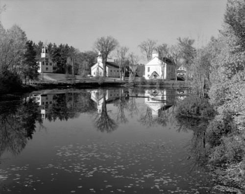 1960s-1950s Small Town White Public Buildings Around Lake Spring Church School Town Hall Washington Nh Usa Print By - Item # PPI178818LARGE