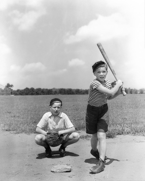 1930s Two Boys Batter And Catcher Playing Baseball Poster Print By Vintage Collection (22 X 28) - Item # PPI177362LARGE