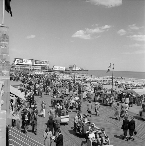 1950s Crowd People Men Women Children Boardwalk Atlantic City Nj Usa Poster Print By Vintage Collection - Item # VARPPI178984
