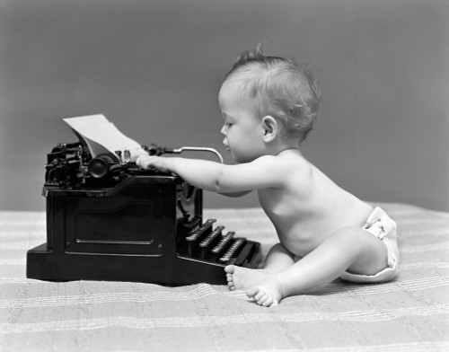 1940s Baby In Diaper Typing On Typewriter Poster Print By Vintage Collection - Item # VARPPI177018