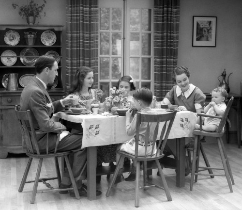 1930s Family Of 6 Sitting At The Table In A Dining Room Eating Breakfast The Baby Is Sitting In A High Chair Print By - Item # PPI172416LARGE