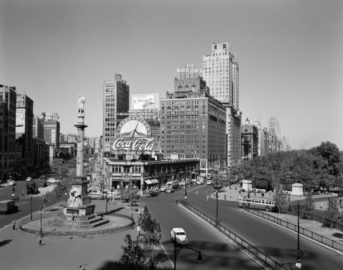 1950s Columbus Circle Looking North Manhattan New York City Usa Poster Print By Vintage Collection (22 X 28) - Item # PPI179090LARGE