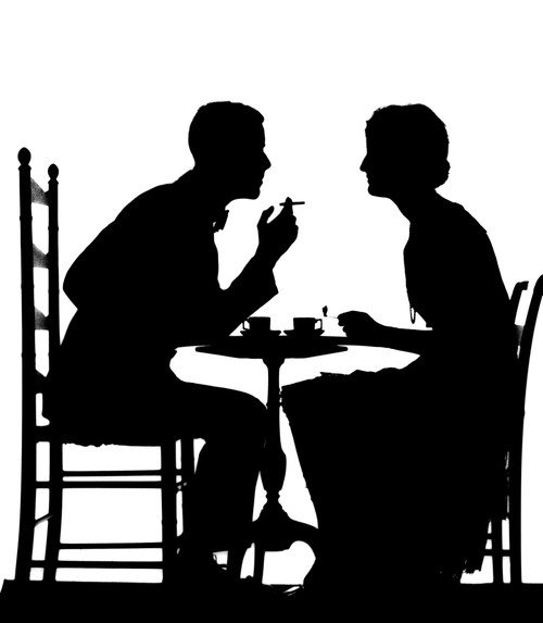 1920s-1930s Silhouette Of Couple Sitting At Tea Table With Teacups Man Smoking Cigarette Print By Vintage Collection - Item # PPI172457LARGE