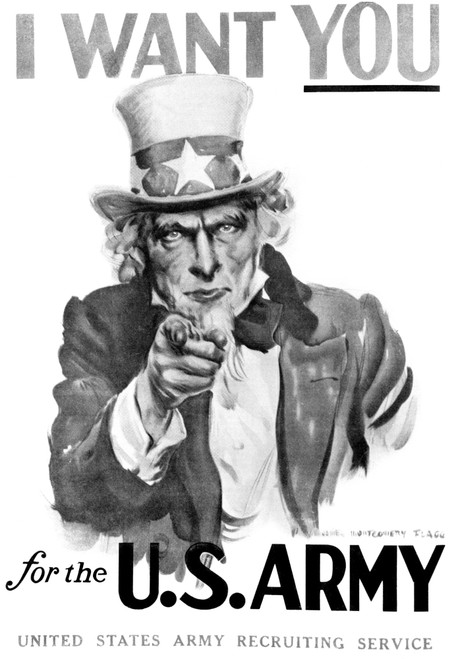 1910s World War One I Want You Uncle Sam United Sstates Army Recruiting Poster By Artist J.M. Flagg Print By Vintage - Item # VARPPI176731