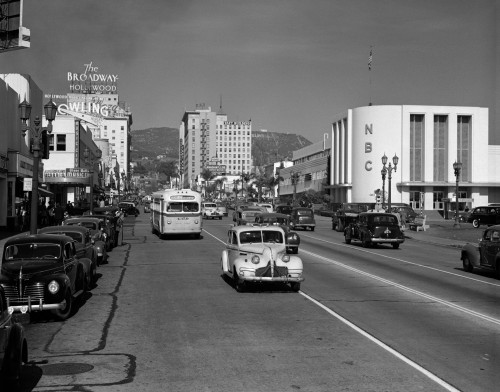 1940s Street Scene View Down Vine Street Nbc Studio The Broadway Hotel Near Sunset Boulevard Hollywood Los Angeles Usa - Item # PPI178781LARGE