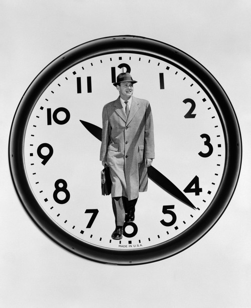 1960s-1950s Montage Business Man On Clock Face Poster Print By Vintage Collection - Item # VARPPI172461