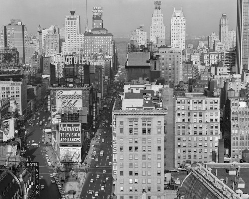 1950s New York City Times Square Looking North From Roof Of Hotel Claridge Nyc Ny Usa Print By Vintage Collection - Item # PPI178785LARGE