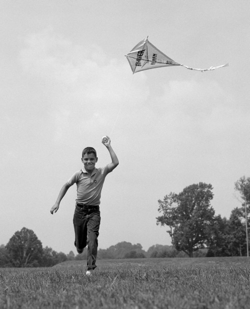 1960s Boy Running Flying Kite Poster Print By Vintage Collection (22 X 28) - Item # PPI177773LARGE
