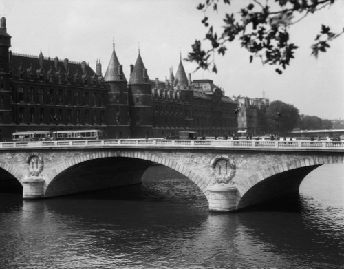 1930s Hotel De Ville And Bridge On River Seine Paris France Poster Print By Vintage Collection (22 X 28) - Item # PPI178682LARGE