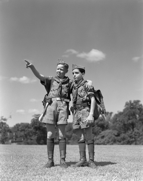 1950s Two Boy Scouts One Pointing Wearing Hiking Gear Uniforms Poster Print By Vintage Collection (22 X 28) - Item # PPI177248LARGE
