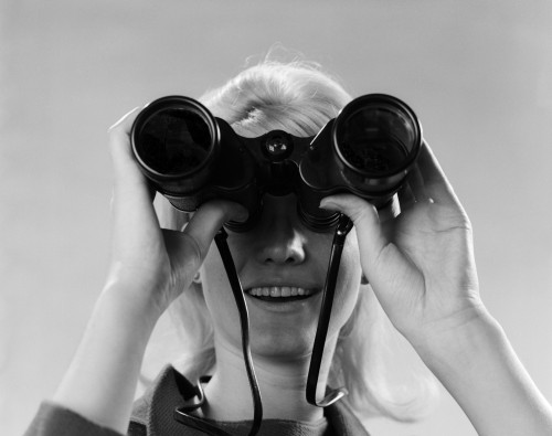 1960s Woman Looking Through Binoculars Poster Print By Vintage Collection (22 X 28) - Item # PPI177847LARGE