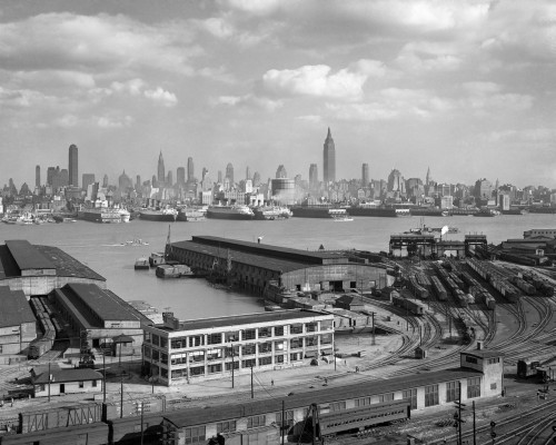 1930s Manhattan Nyc Skyline Rockefeller Center To 14Th Street And Ocean Liners View From Weehawken Nj Usa Print By - Item # PPI195715LARGE