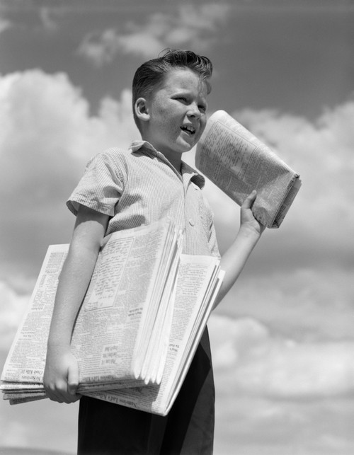 1930s Newspaper Boy Poster Print By Vintage Collection (22 X 28) - Item # PPI177031LARGE