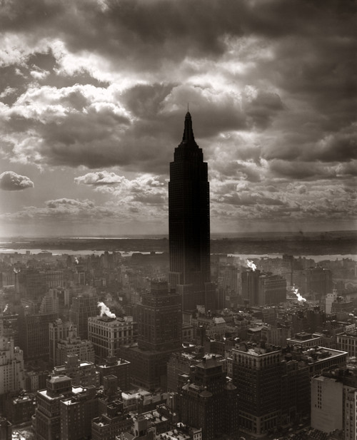 1930s-1940s Empire State Building Silhouetted Against High Gathering Storm Clouds Covering Nyc New York Usa Print By - Item # PPI172451LARGE