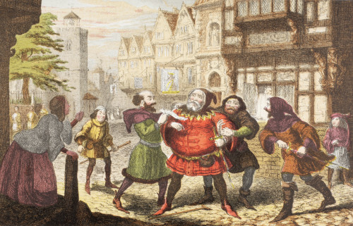 Mrs Quickly Has Sir John Falstaff Arrested In Henry Iv, Part 2 By William Shakespeare. Drawn And Etched By George Cruikshank. From The Illustrated Library Shakspeare, Published London 1890. PosterPrint - Item # VARDPI1904478