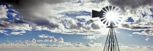 Silhouette of an industrial windmill, Mojave National Preserve, San Bernardino County, California, USA Poster Print - Item # VARPPI168141