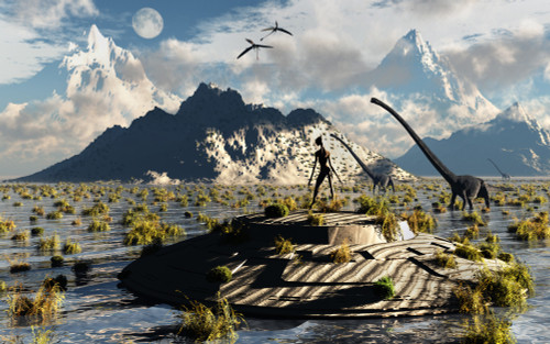 A reptoid atop an abandoned UFO watching a herd of sauropod dinosaurs Poster Print - Item # VARPSTMAS100980S