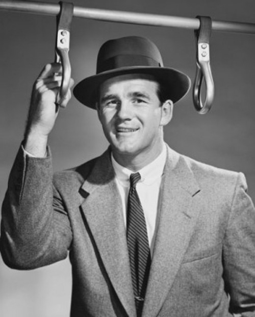 Portrait of a businessman holding a handle strap in a bus Poster Print - Item # VARSAL25550126B