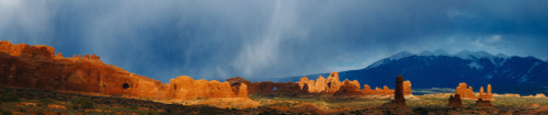 Rock Arches And La Sal Mountain Range, Arches National Park, Moab, Utah PosterPrint - Item # VARDPI2020400