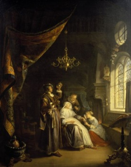 The Dropsical Woman by Gerard Dou  oil on wood  1663   France  Paris  Musee du Louvre Poster Print - Item # VARSAL11581908