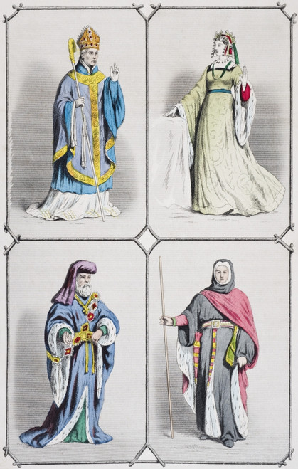 English Costumes Between 1392 And 1413. Bishop, Countess,Earl And Judge. From The National And Domestic History Of England By William Aubrey Published London Circa 1890 PosterPrint - Item # VARDPI1855740