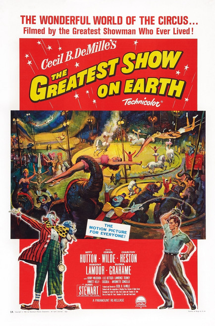 The Greatest Show On Earth Us Poster Art Right: Charlton Heston 1952 Movie Poster Masterprint (8 x 10) - Item # MINEVCMCDGRSHEC010H