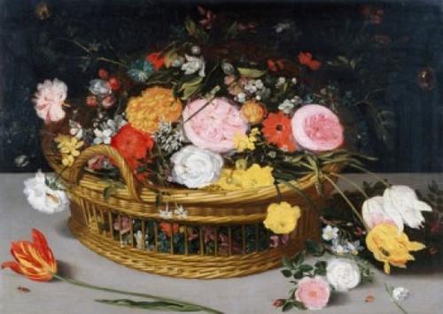 Roses, Tulips, and other Flowers in a Wicker Basket, Jan Bruegel the Elder (8 x 10) Poster Print (8 x 10) - Item # MINSAL900137123