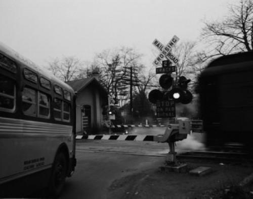 USA  New York City  Staten Island  West Shore  Bus waiting at rail crossing Poster Print - Item # VARSAL255424300
