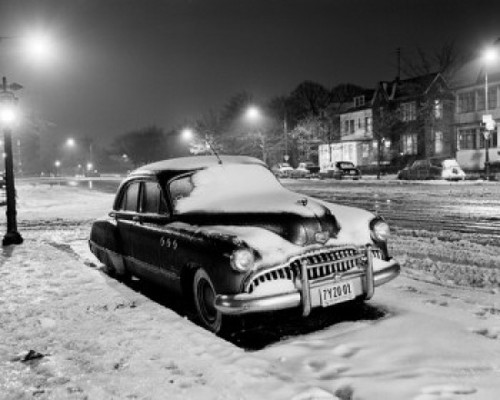 Car parked in town street  covering with snow Poster Print - Item # VARSAL255416618