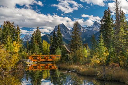 Bridge on Spring Creek, Three Sisters, Canmore, Alberta, Canada Poster Print - Item # VARPPI166955