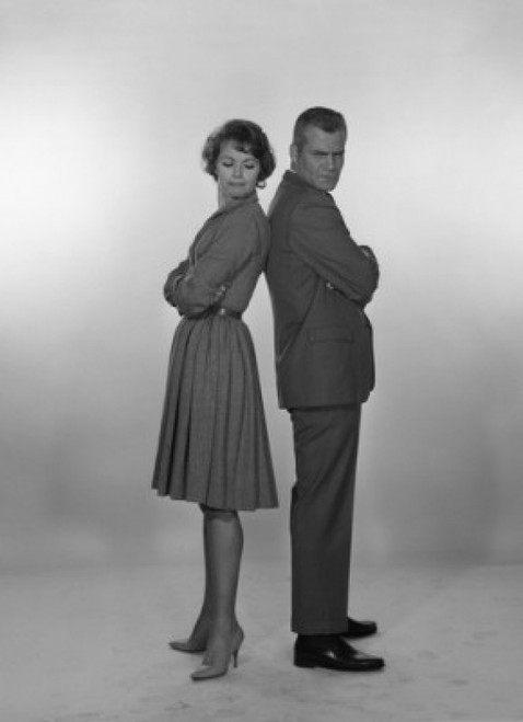 Mid adult couple looking black at each other  studio shot Poster Print - Item # VARSAL255417381B