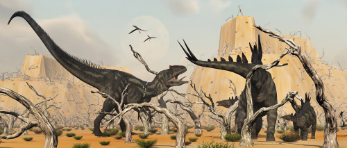 A female Stegosaurus battles to save her infant from the jaws of a carnivorous Allosaurus Poster Print - Item # VARPSTMAS100486P